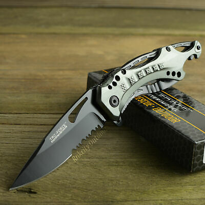 TAC Force Gray Handle Spring Assisted Part Serrated Tactical Folding Knife New!