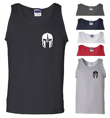 Spartan Helmet Vest Pocket Gym Bodybuilding Fitness MMA UFC Workout Men Tank Top