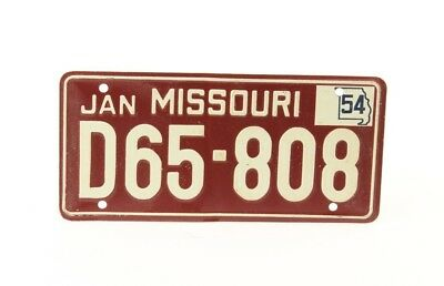 Vintage License Plate - Missouri - 1954 - Small Plate - Red/White
