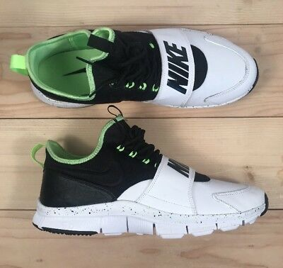 Nike Free Ace Leather Trainer Mens Shoe Size 12 White/Ghost Green/BLK 749627-100