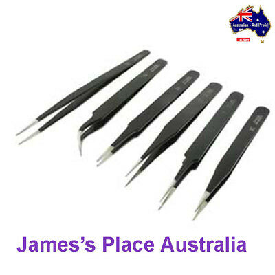 Tweezer Set - Non-Magnetic - Black Epoxy - 6pcs