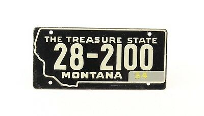 Vintage License Plate - Montana - 1954 - Small Plate - Black/White