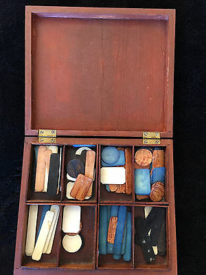 MAHOGANY BOX FILLED WITH 1th CENTURY GAMING CHIPS , SIZE 19X16X3.2 cm