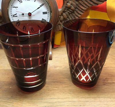 Set of Two Stunning Vintage Mid Century Cut to Clear Ruby Drinking Glasses