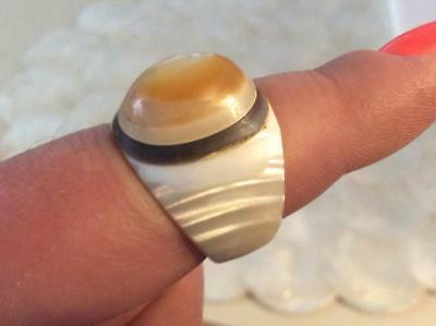 Antique Art Deco French Shell Mother Of Pearl Bone Moon Stone Amulet Ring Size 7