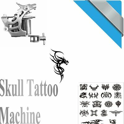 New Silver Tattoo Machine Gun for Liner Shader Dual 10 Wrap Coil Equipment BR