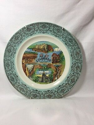 """Colorado State Vintage Collector Plate Tourist Sites Green / White / Gold 9"""""""