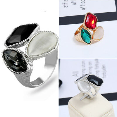Mens Women Cat's Eye Stone Ring Stainless Cocktail Steel Band Party Jewelry
