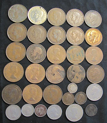 Lot of 33 Great Britain Coins with 1866 Farthing, 1885 Penny,1916 3 pence Silver