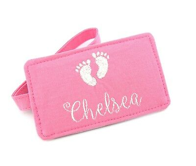 Baby Girl Pink Personalised Name Luggage Tag, Baby Gift, Baby Feet Luggage Tag