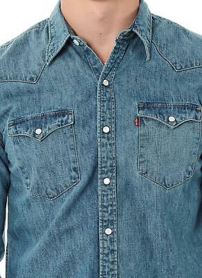 69e2cb87c5a NEW LEVI S MEN S Slim Fit Barstow Denim Western Snap-Up Shirt Aged Blue  (LARGE) -  22.99