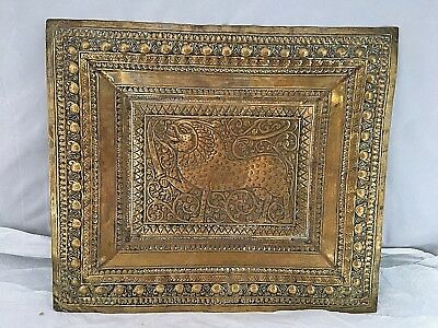 """ANTIQUE Vintage hand made INDIAN BRASS TRAY PLAQUE engraved with lion,14"""" x 12"""""""