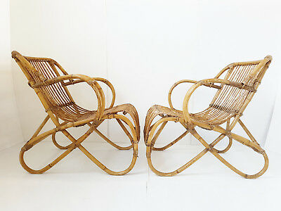 Pair Of Armchairs Rattan Bamboo Wicker 1950 Vintage Rockabilly 50S 50's