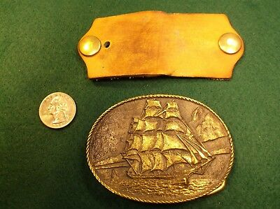 Excellent Vtg 1976 Brass Mens Belt Buckle, Clipper Ship - Registered Collection