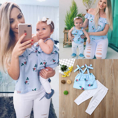 USA Family Matching Mother Daughter Women Kids Floral Striped Tops Pants  Clothes e56ee889ae85