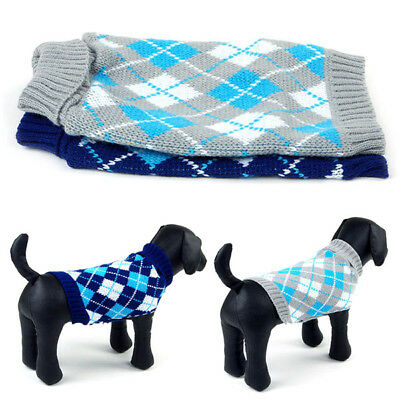 US Warm Pet Dog Lattice Knitwear Sweater Small Puppy Knitted Coat Apparel XS-XL
