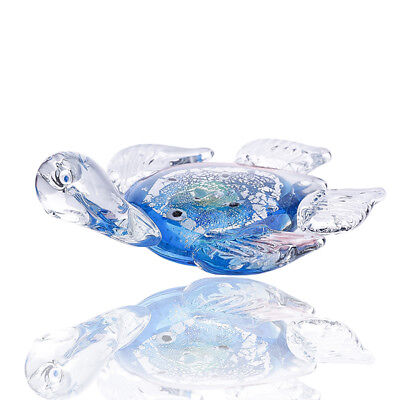 New Blue Glass Turtle Paperweight Art Glass Blown Sea animal Figurine Collection