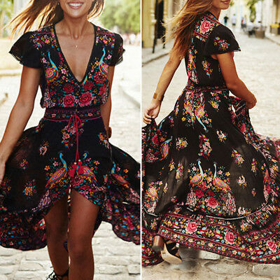Plus Size Women's Boho Casual Summer Beach Party Floral Sundress Long Maxi Dress