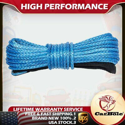 """1/4"""" x 50' Synthetic Winch Rope Line Cable 8200 LB Capacity For ATV UTV W/Sheath"""