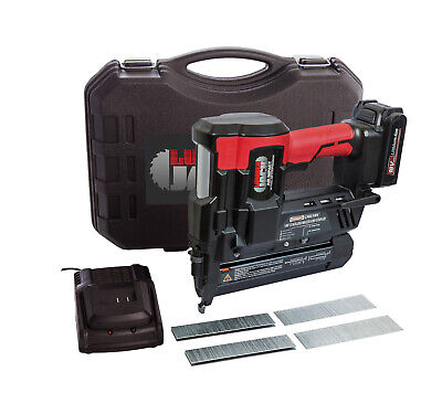 Cordless 18v Nail Staple Gun 2nd Fix Brad Nailer with Battery Charger and Case