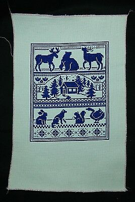 House in Country and Animals  Needle Point Sampler    Signed and Dated