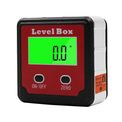 Digital LCD Angle Gauge Bevel Box Level Inclinometer Finder Protractor Red