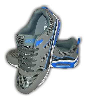 Mens Boys Trainers Faux Air Bubble Faux Suede LEGACY Grey/Blue Sizes 8-12
