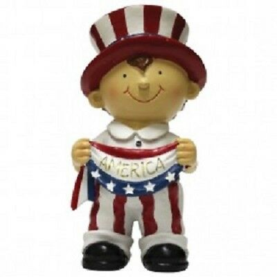 NEW!! Primitive Country Resin Patriotic AMERICANA BOY Figurine Shelf Sitter