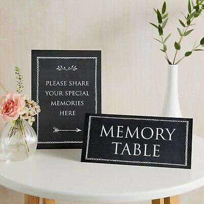 Black Share Your Memories & Memory Table 2 Sign Set for Funeral Condolence Book