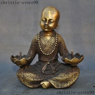 Chinese Bronze Copper Buddhism Monk little boy Buddha Statue Candlestick Holder