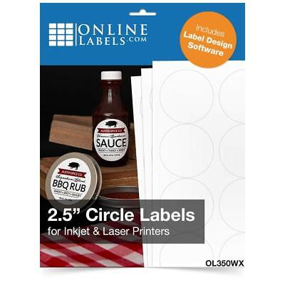 """1,575 LABELS (25 sheets) 1"""" inch Circle Round White Glossy Finish"""