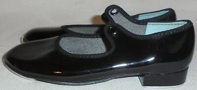 Tempo, By Leo's,  Girl's Black Patent Tap Shoes, Size 9 1/2 N, 7 In. Long, 2 1/2