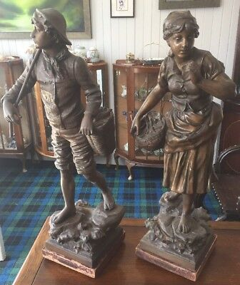 A Pair Of Bronzed Spelter Figures By Rousseau C.1890