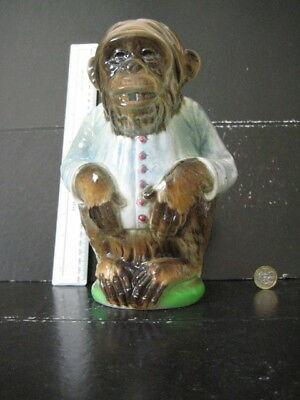 Rare Vintage St Clements France Figural Majolica  Monkey Chimp Pitcher Jug