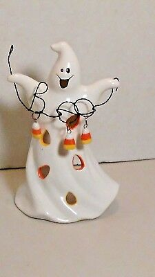 Ghost Ceramic Tea Light Candle Holder Halloween Boo Smiling Candy Corn