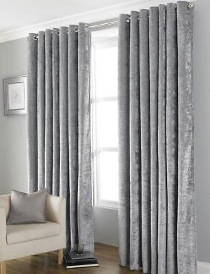 Crushed Velvet Thermal Blackout Eyelet Ring Curtains Lined Silver Grey ~ 4 Sizes