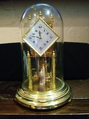 Vintage- Kundo 400-Day-Anniversary-Torsion-Clock  Glass Dome *working*