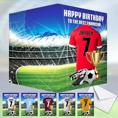 Football PERSONALISED Birthday Card Red Blue White Son Grandson Brother Name Age
