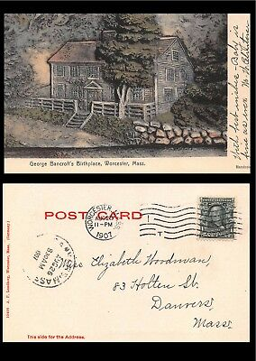 Vtg 1907 GEORGE BANCROFT BIRTHPLACE WORCESTER POSTCARD Hand Color Undivided A1