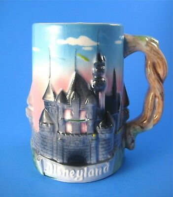Vintage Disneyland Tall Mug Stein with 3-D Castle Vine Handle Walt Disney Produc