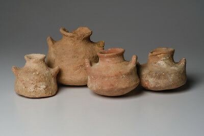 A Collection of 4 Ancient Squat Holyland Pottery Vessels Iron age, ca. 1200-1000