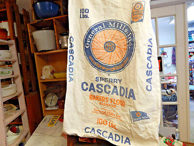 Vintage Cotton 100 lb. General Mills Sperry Cascadia Bakers Flour Sack