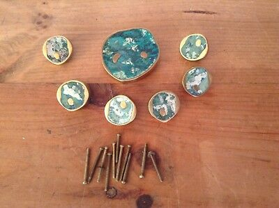 Vintage Brass And Turquoise Pepe Mendoza Drawer Pulls Mexican              #9049