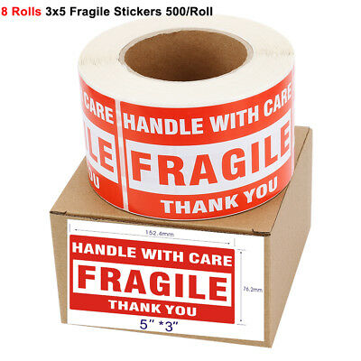 "8 Rolls 3""x5"" Fragile Stickers Labels Handle with Care Thank You 500 per Roll"