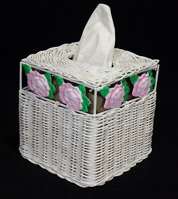 Vtg Tissue Box Cover Holder White Wicker Pink Roses French Country
