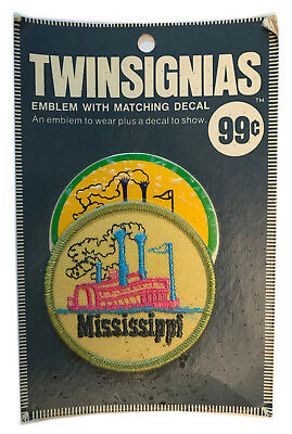 "1970's Mississippi Usa Souvenir 3"" Patch With Decal Twinsignias In Original Pack"