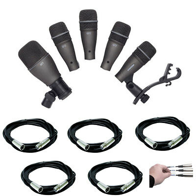 Samson DK705 5-Pc Drum Mic Kit with 5 Mic Cables 20 Ft + Cable Peel Off Labels