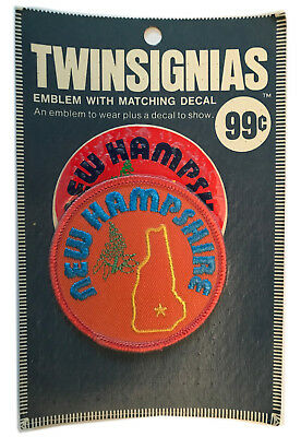 """1970's New Hampshire Usa Souvenir 3"""" Patch With Decal Twinsignias In Package"""