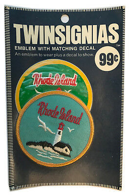 """1970's Rhode Island Usa Souvenir 3"""" Patch With Decal Twinsignias In Package"""