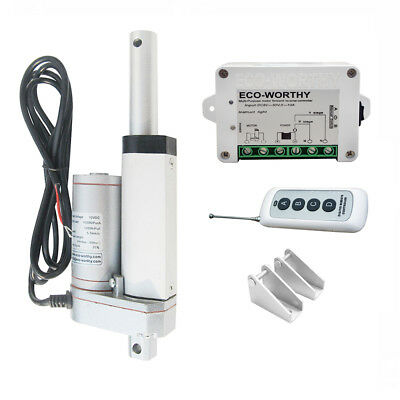 """12V 2"""" Linear Actuator 1500N/330lbs Electric Motor + Remote Controller+ Brackets"""